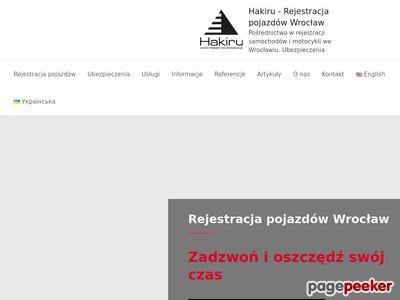 Hakiru - Rejestracja samochodu Wrocław, Strzelin